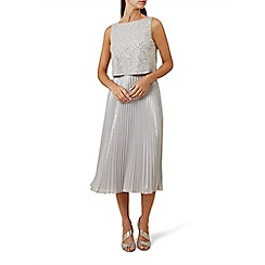 Hobbs - Silver sequin 'Evelyn' knee length tea dress