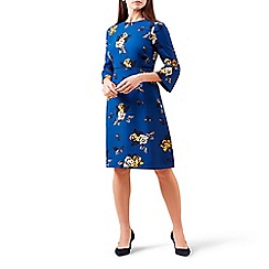 Hobbs - Blue floral print 'Tea Rose' knee length shift dress