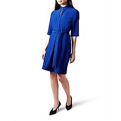 Hobbs - Blue high neck 'Lois' knee length dress