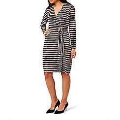 Hobbs - Multicoloured jersey 'Delilah' long sleeve knee length wrap dress