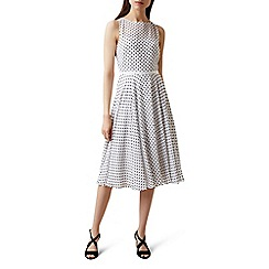 Hobbs - Ivory spotted 'Della' knee length tea dress
