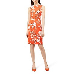 Hobbs - Orange floral print 'Moira' pencil dress