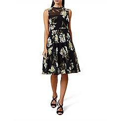 Hobbs - Black floral print chiffon 'Eve' knee length tea dress