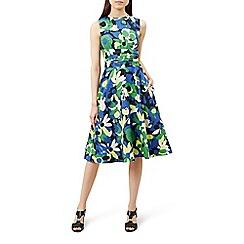 Hobbs - Multicoloured floral print linen 'Twitchill' wrap dress