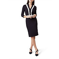 Hobbs - Navy 'Orchid' knee length pencil dress