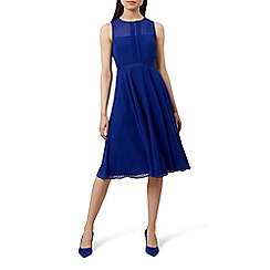 Hobbs - Blue chiffon 'Elodie' midi skater dress