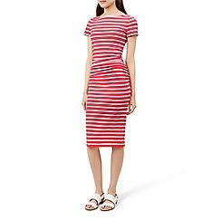 Hobbs - Pink striped 'Bridget' knee length dress