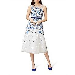 Hobbs - Blue floral print 'Alena' midi tea dress
