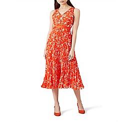 Hobbs - Orange floral print 'Lilah' midi tea dress