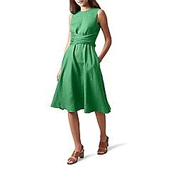 Hobbs - Green pure linen 'Twitchill' knee length tea dress