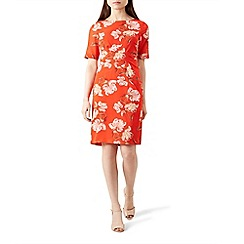 Hobbs - Red floral print 'Stellie' knee length pencil dress with silk