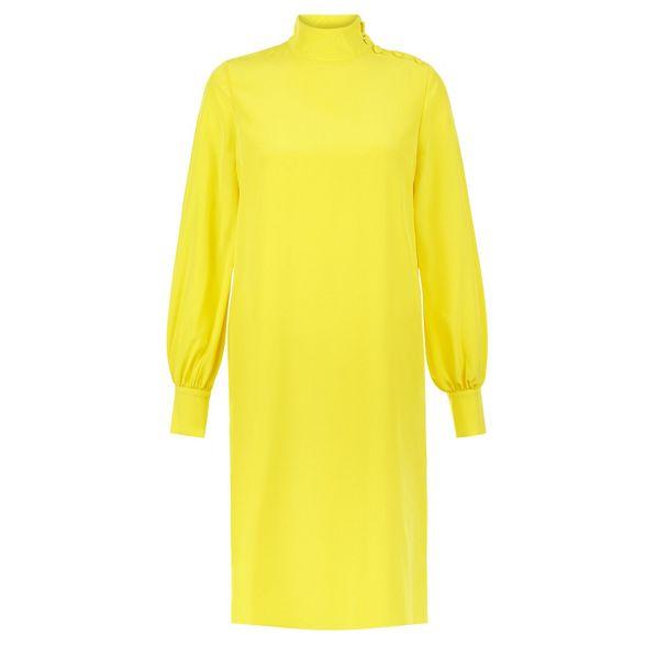 Hobbs pure 'Alana' long neck shift high dress length Yellow knee sleeve silk r5tqnw5T