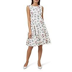 Hobbs - Ivory floral print 'Nova' midi dress