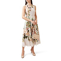 Hobbs - Grey floral print 'carly' midi dress