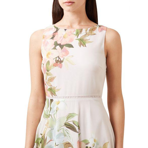 Grey floral 'carly' print Hobbs midi dress zdZUxw5q