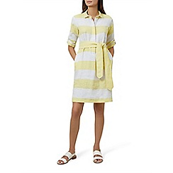 Hobbs - Yellow striped pure linen 'Mollie' knee length shirt dress