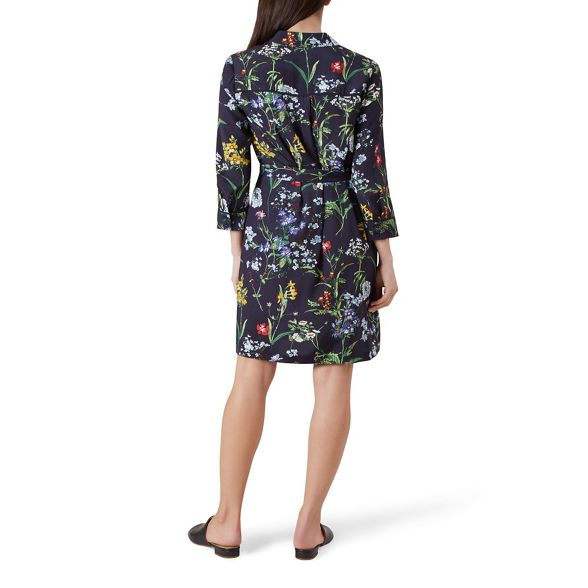 length sleeve long Hobbs 'Marianne' print floral shirt Multicoloured knee dress wnvvx0Z