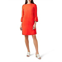 Hobbs - Red 'flora' 3/4 sleeve knee length shift dress