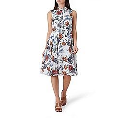 Hobbs - Ivory floral print 'belinda' midi shirt dress