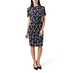 Hobbs - Blue floral print silk rich 'delilah' knee length shift dress