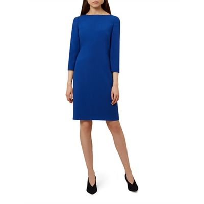 Hobbs   Blue 'kali' Long Sleeve Knee Length Shift Dress by Hobbs