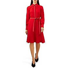 Hobbs - Red 'Nancy' long sleeve knee length shirt dress