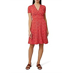 Hobbs - Red spotted jersey 'Darcie' knee length wrap dress