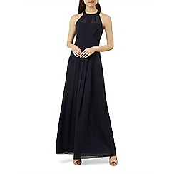 Hobbs - Navy chiffon 'Alexis' halterneck full length evening dress