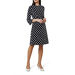 Hobbs - Blue spotted 'Magnolia' knee length shift dress