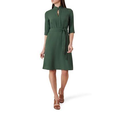 hobbs---green-lois-high-neck-knee-length-shirt-dress by hobbs