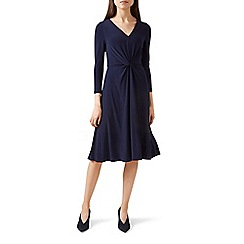 Hobbs - Blue jersey 'Araminta' v-neck long sleeve dress