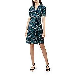 Hobbs - Green floral print jersey 'Delilah' knee length wrap dress