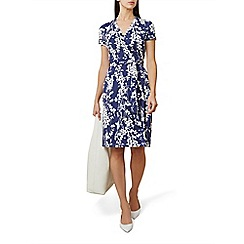 Hobbs - Blue floral print jersey 'Delilah' knee length wrap dress