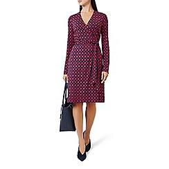 Hobbs - Red jersey 'Delilah' v-neck long sleeve knee length wrap dress