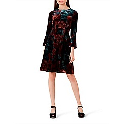 Hobbs - Multicoloured floral print velvet 'Zinnia' long sleeve knee length dress with silk