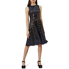 Hobbs - Dark blue sequin 'Robin' fit & flare dress
