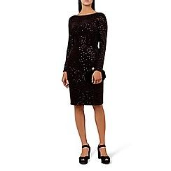 Hobbs - Black 'Sawyer' long sleeve knee length evening dress