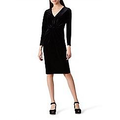 Hobbs - Black velvet 'Emilia' v-neck long sleeve knee length dress
