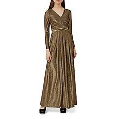 Hobbs - Gold 'Charlize' v-neck long sleeve midi dress