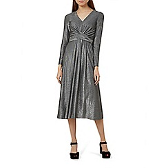 Hobbs - Silver 'Charlize' v-neck long sleeve midi dress