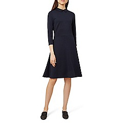 Hobbs - Blue 'seasalter' long sleeves knee length collared dress