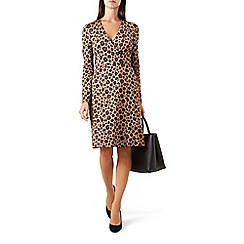 Hobbs - Brown spotted 'Delilah' v-neck long sleeve knee length shift dress