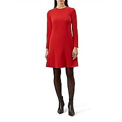 Hobbs - Red 'Natalie' long sleeve fit & flare dress