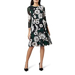 Hobbs - Multicoloured floral print 'Aurelie' long sleeve fit & flare dress