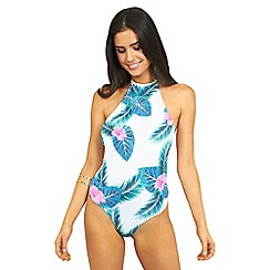 Oh My Love - Tropical print high neck swimsuit