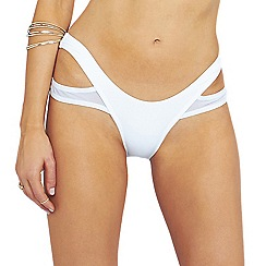Oh My Love - White double side mesh strap high leg brief