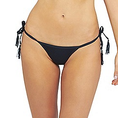 Oh My Love - Black tie side tanga brief with matching tassel trim