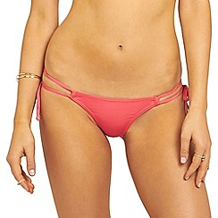 Oh My Love - Pink double strap tie side rouch detail brief with frill detail