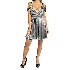 Oh My Love - Metallic silver cold shoulder mini dress