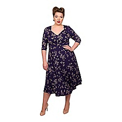 Scarlett & Jo - Navy viscose plus size floral dress